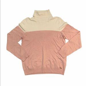 Calvin Klein pink & white sweater size Large